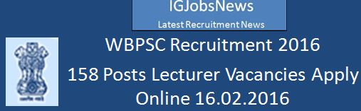 WBPSC Recruitment Qualification for Lecturer Advertisement