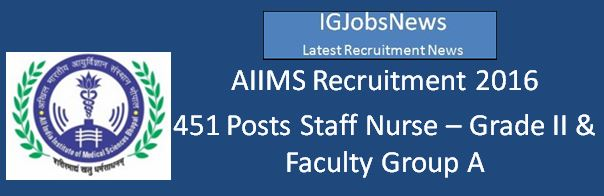 AIIMS Bhopal Staff Nurse and faculty Recruitment 2016