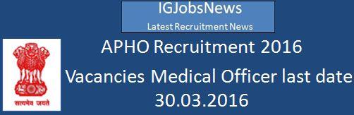 APHO Recruitment 2016 2 Vacancies