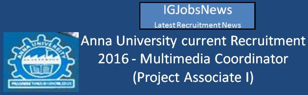 Anna University Recruitment March 2016