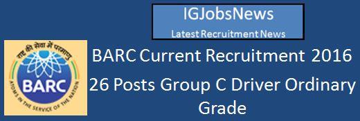 BARC Recruitment 2016 Drive Grade C Posts
