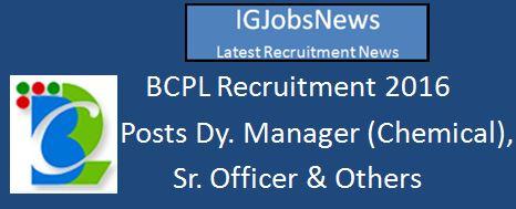 BCPL Recruitment March 2016