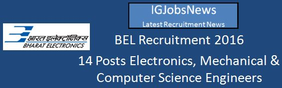 BEL Recruitment March 2016