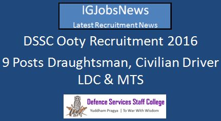 DSSC Ooty Recruitment March 2016