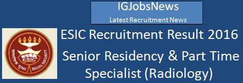 ESIC Recruitment Result 2016