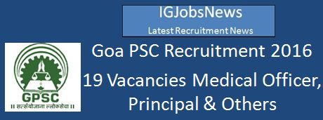 Goa PSC Recruitment March 2016