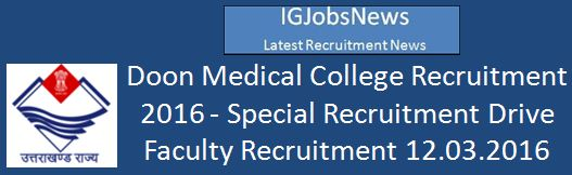 Government Doon College Recruitment March 2016