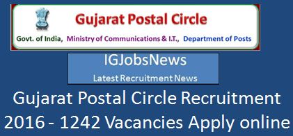 Gujarat Postal Circle recruitment 2016