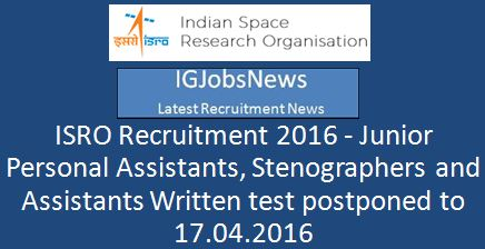ISRO Examination postmonmet notification