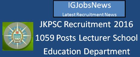 JKPSC School Lecturer Recruitment Notification March 2016