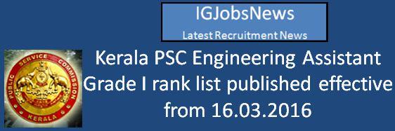 Kerala PSC Recruitment Merit list 2016