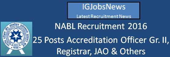 NABL Recruitment April 2016