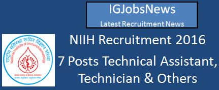 NIIH Recruitment March 2016