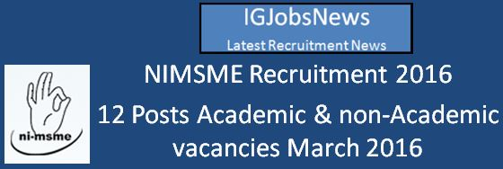 NIMSME Recruitment March 2016
