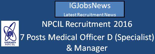 NPCIL Recruitment March April 2016
