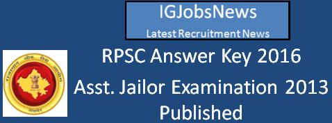 RPSC Assistant Jailor Answer Key March 2016
