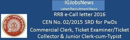 RRB e-call letter 2016 SRD for PWD CEN No. 02 2015