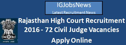 Rajasthan High Court Civil Judge Recruitment 2016