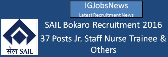 SAIL Bokaro Recruitment 2016