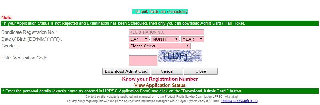 UPPSC Admit Card download 2016