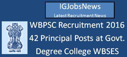 WBPSC 42 Principal Vacancies 2016