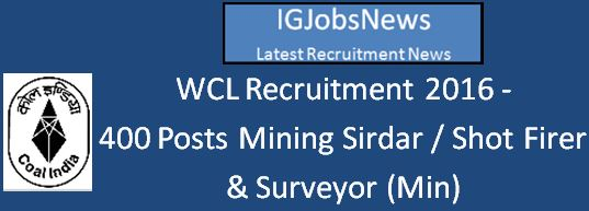 WCL Nagpur Recruitment 2016