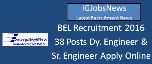 BEL Recruitment April 2016