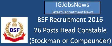 BSF Recruitment April 2016