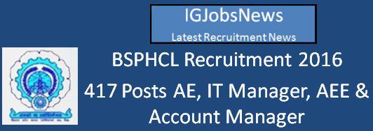 BSPHCL Recruitment April 2016