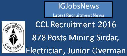 CCL Recruitment April 2016_878 Vacancies