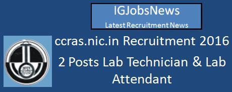 CCRAS Recruitment April 2016