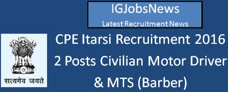 CPE Itarsi Recruitment April 2016