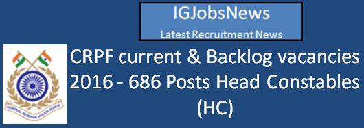 CRPF Head Constable (Ministerial) Recruitment 2016