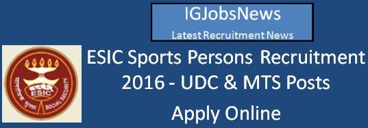 ESIC Sports Quota Recruitment April 2016