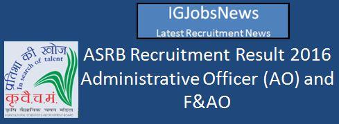 ICAR ASRB Recruitment Result April 2016