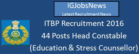 ITBP Recruitment April 2016