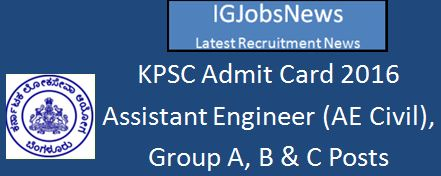 KPSC Technical Post Examination 2016 Admit Card