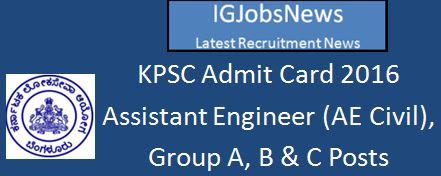 KPSC Technical Post Examination 2016 Admit Card