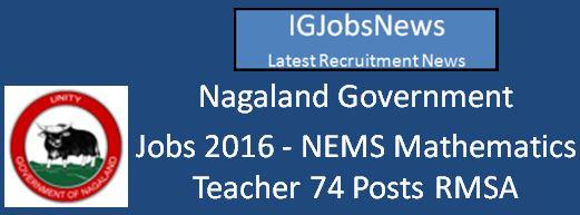 Nagaland Mathematics Teacher Posts April 2016