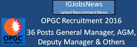 OPGC Recruitment April 2016 Apply Online