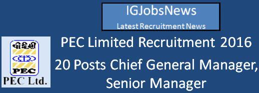 PEC Limited Recruitment 2016