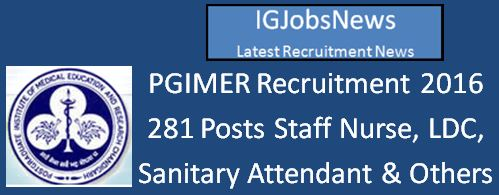 PGIMER Recruitment April 2016 Notification