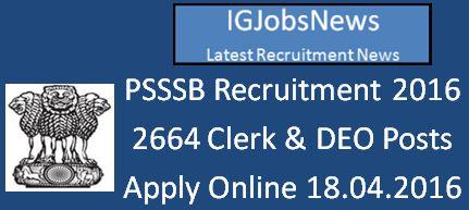 Punjab SSSB Clerk & DEO Jobs April 2016 Notification