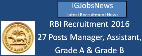 RBI Recruitment April 2016