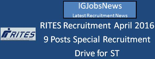 RITES Special Recruitment for jr mgr fin ST