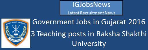 RSU Gujarat Faculty Recruitment 2016