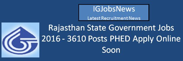 Rajasthan PHED Recruitment Upcoming Notification 2016