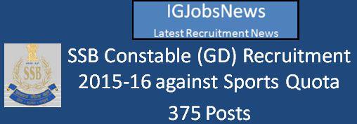 SSB Recruitment April 2016