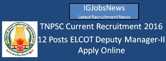 TNPSC ELCOT Manager Recruitment April 2016