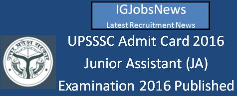 UPSSSC JA Examination 2016 Admit Card Download